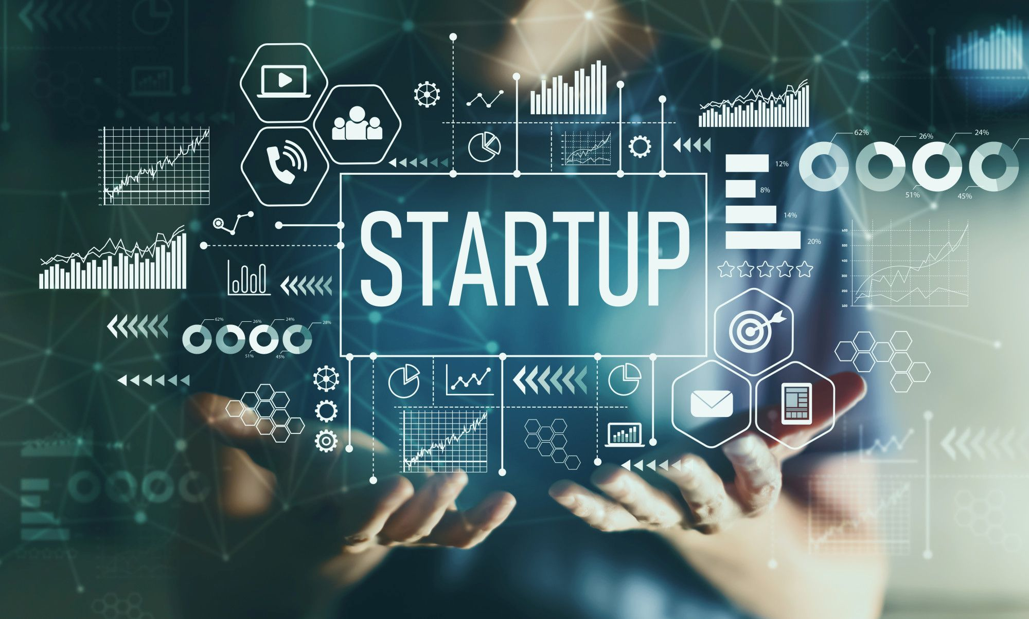Startup with young man